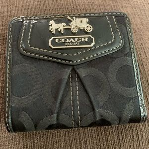 COACH Madison Op Art Signature Small Black Wallet